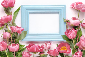pink peony flowers and picture frame