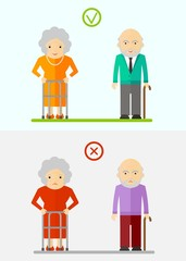 elderly couple happy and unhappy