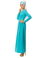 Young muslim woman in blue dress