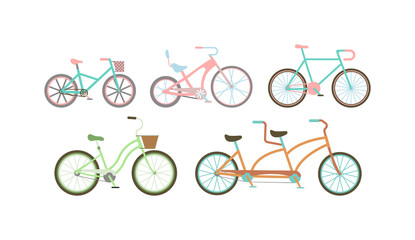 Old retro style bicycles vector illustration.