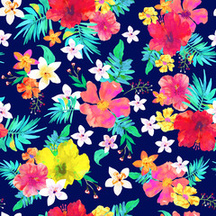 Seamless floral  background. Tropical colorful pattern. Isolated flowers and leaves on blue background. Vector.