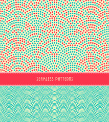 2 fish scales Japanese style seamless patterns, in red, ivory, and blue