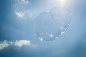 Soap bubble in the sky stock image.