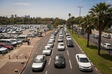 Heavy traffic in the central Tel Aviv (Rokach street). Israel, April 2016.