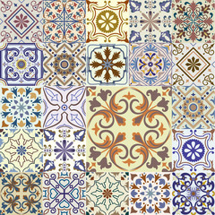 Fotorolgordijn Marokkaanse Tegels Big set of tiles background.