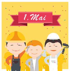 1. Mai - Tag der Arbeit - Feiertag - Vektor