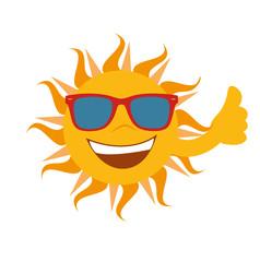 Sonne mit Sonnenbrille lacht un hält den Daumen hoch - Vektor freigestellt