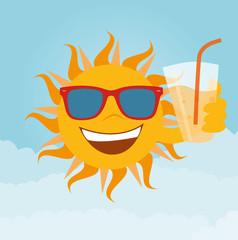 Sonne mit Glas Limo in der Hand trägt eine Sonnenbrille Vektor