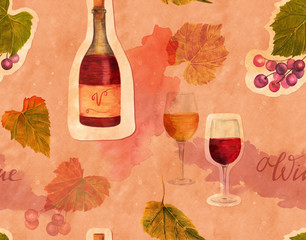 Seamless wine pattern with watercolor drawings and cutouts