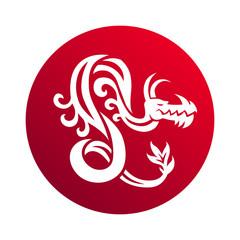 Dragon medal vector illustration.