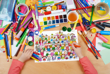 many people team group portrait child drawing, top view hands with pencil painting picture on paper, artwork workplace