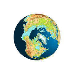 World globe. Planet Earth. North Pole, Arctic. Vector illustration, isolated on white.