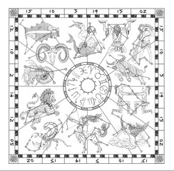 Graphic chart with zodiac symbols and constellations on white