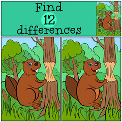 Children games: Find differences. Little cute beaver stands near the tree.