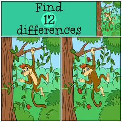 Children games: Find differences. Little cute monkey hangs in the tree and smiles.
