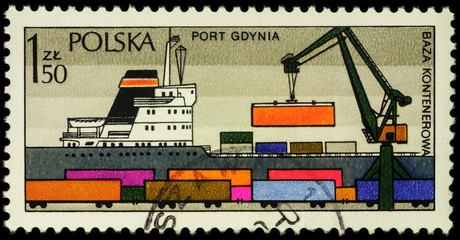 Polish Harbour Gdynia on postage stamp