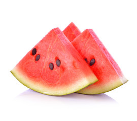 closeup of some pieces of refreshing watermelon on a white backg