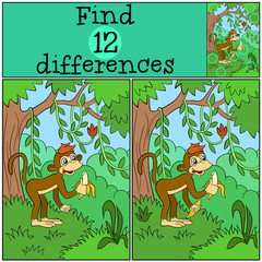 Children Games: Find Differences. Little cute monkey stands and holds banana.