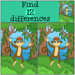 Children games: Find differences. Little cute monkey runs and smiles in the forest..