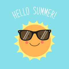 Hello Summer card as cute hand drawn smiling cartoon character of Sun with hand written text