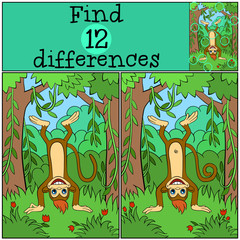 Children games: Find differences. Little cute monkey stands upside down and smiles.