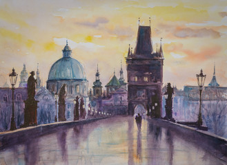 Charles bridge in Prague, Czech Republic. Picture created with watercolors.