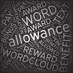 Allowance,Word cloud art background