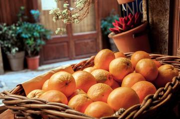 Oranges  in basket
