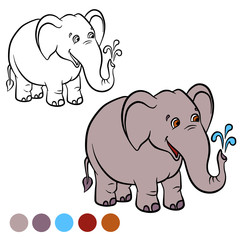 Coloring page. Color me: elephant.  Little cute stands and smiles.