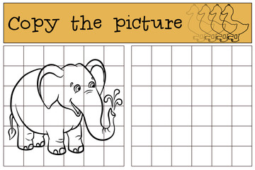 Children games: Copy the picture. Little cute elephant stands and smiles.