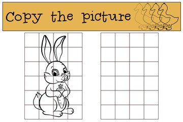 Children games: Copy the picture. Little cute hare holds a carrot in the hands and smiles.