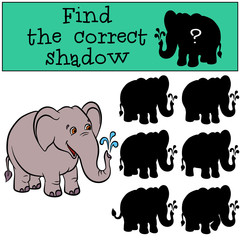 Children games: Find the correct shadow. Cute elephaht stands and smiles.