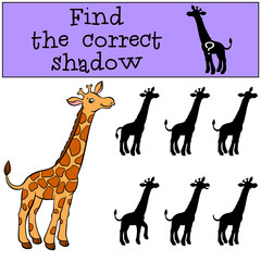 Children games: Find the correct shadow. Cute giraffe stands and smiles.