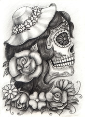 Skull art day of the dead.Design women skull head action smiley face day of the dead festival hand pencil drawing on paper.