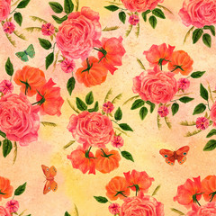 Seamless background pattern with roses and butterflies on old paper
