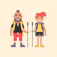 Hiking Concept. Smiling Young Man and Girl with Backpack and Stick for Hiking