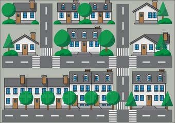 Fototapete - Collection of simplicity suburb houses. Vector illustration eps 10.