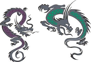 two chinese dragons