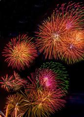 Feuerwerk zu Silvester. Neujahr wird gefeiert.