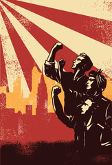 Revolution Poster, workers raising fists with cityscape background, vector