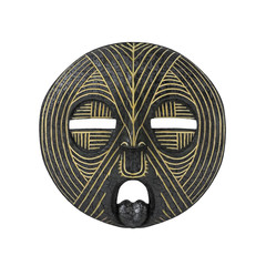 Old antique african tribal mask on white background