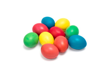 Easter colored eggs on a white background