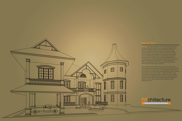 sketch design of home on drawing table,vector