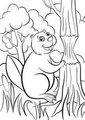 Coloring pages. Animals. Little cute beaver smiles.