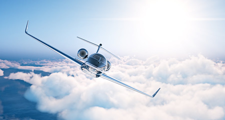 Image of black luxury generic design private jet flying in blue sky at sunset. Huge white clouds background. Business travel picture. Horizontal . 3d rendering