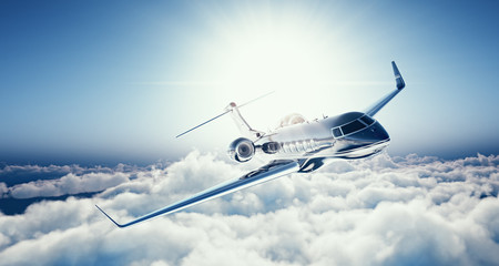 Image of black luxury generic design private jet flying in blue sky at sunset. Huge white clouds background. Luxury travel concept. Horizontal. 3d rendering