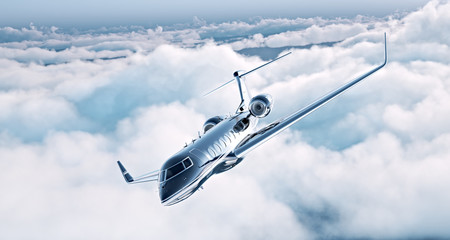 Image of black luxury generic design private jet flying in blue sky. Huge white clouds at background. Business travel concept. Horizontal . 3d rendering
