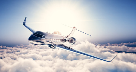 Photo of black luxury generic design private jet flying in blue sky. Huge white clouds and sun at background. Business travel concept. Horizontal. 3d rendering Wall mural