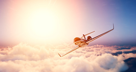 Image of black luxury generic design private jet flying in blue sky at sunrise. Huge white clouds and sun background. Business travel concept. Horizontal , front view. 3d rendering