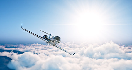 Concept of black luxury generic design private jet flying in blue sky at sunset. Huge white clouds background. Business travel photo. Horizontal , angle view. 3d rendering